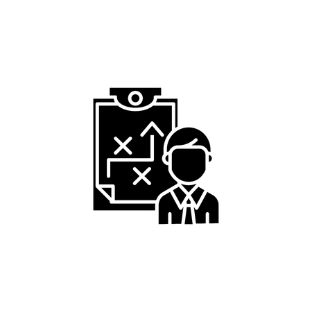 Describing strategy black icon concept. Describing strategy flat vector symbol, sign, illustration.