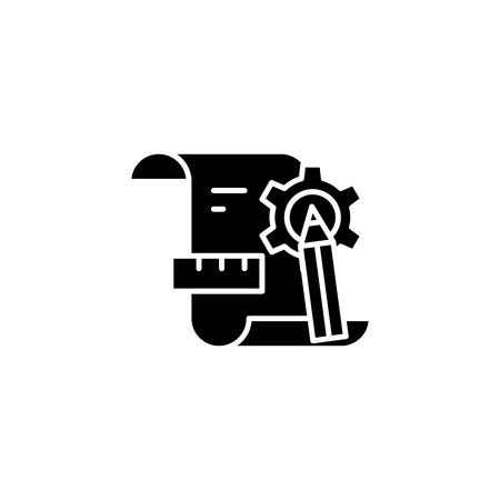 Designing black icon concept. Designing flat  vector symbol, sign, illustration.