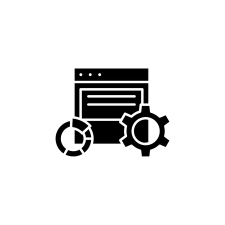 Electronic report black icon concept. Electronic report flat  vector symbol, sign, illustration.  イラスト・ベクター素材