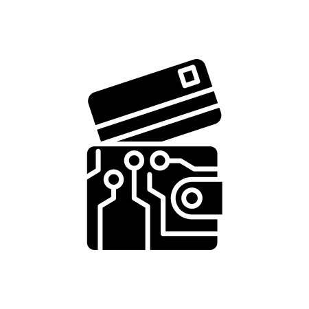 Electronic wallet black icon concept. Electronic wallet flat  vector symbol, sign, illustration.
