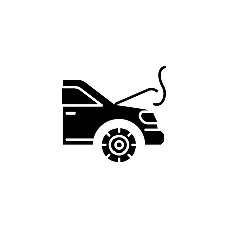 Engine overheating black icon concept. Engine overheating flat  vector symbol, sign, illustration. Stock Illustratie