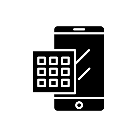 Dialing a number black icon concept. Dialing a number flat  vector symbol, sign, illustration.