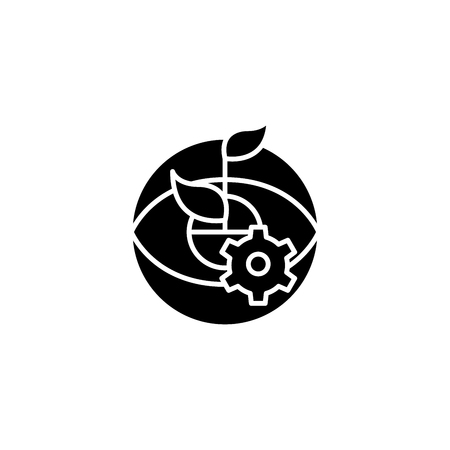 Engineering growth black icon concept. Engineering growth flat  vector symbol, sign, illustration.