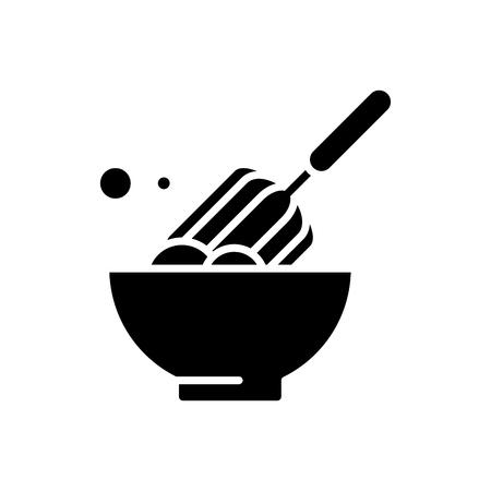 Dough making black icon concept. Dough making flat  vector symbol, sign, illustration. Illustration