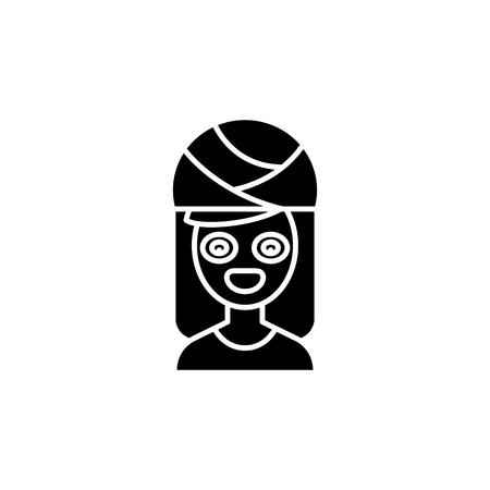 Face mask black icon concept. Face mask flat  vector symbol, sign, illustration. Illustration