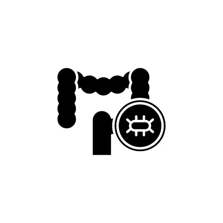 Examination of the intestine black icon concept. Examination of the intestine flat  vector symbol, sign, illustration.