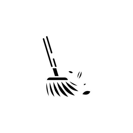 Floor sweeping black icon concept. Floor sweeping flat  vector symbol, sign, illustration. Иллюстрация