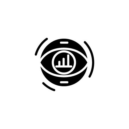 Focusing on revenue black icon concept. Focusing on revenue flat  vector symbol, sign, illustration.