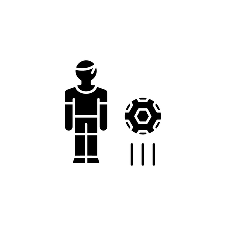 Football player black icon concept. Football player flat  vector symbol, sign, illustration.
