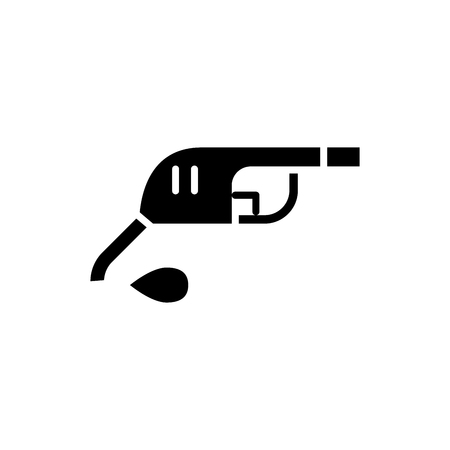 Gasoline pump black icon concept. Gasoline pump flat  vector symbol, sign, illustration. Çizim