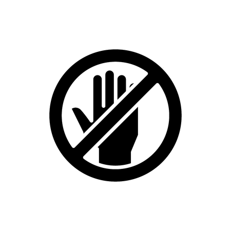 Forbidden to touch black icon concept. Forbidden to touch flat  vector symbol, sign, illustration.
