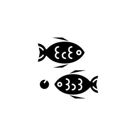 Fried fish black icon concept. Fried fish flat  vector symbol, sign, illustration.