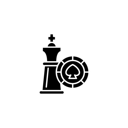 Game strategy black icon concept. Game strategy flat vector symbol, sign, illustration.