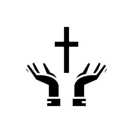 Fede nel concetto di icona nera di Dio. Fede in Dio piatto simbolo del vettore, segno, illustrazione.