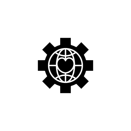 Global npo black icon concept. Global npo flat  vector symbol, sign, illustration. Illusztráció