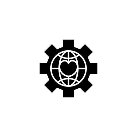 Global npo black icon concept. Global npo flat  vector symbol, sign, illustration. 일러스트