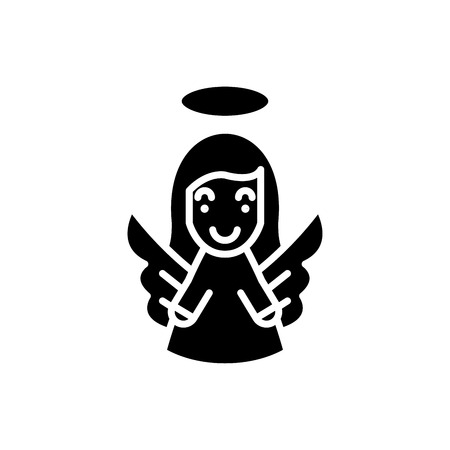 Guardian angel black icon concept. Guardian angel flat  vector symbol, sign, illustration.