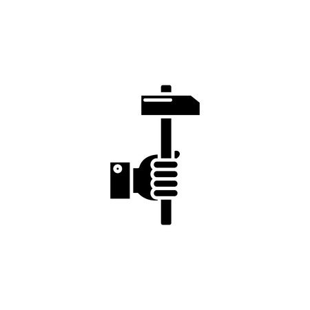 Hammer in hand black icon concept. Hammer in hand flat  vector symbol, sign, illustration.