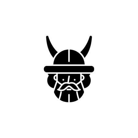 Indian warrior black icon concept. Indian warrior flat  vector symbol, sign, illustration.