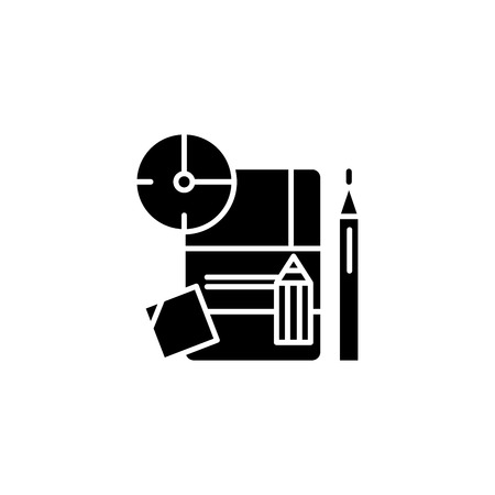 Implementation plan black icon concept. Implementation plan flat vector symbol, sign, illustration.