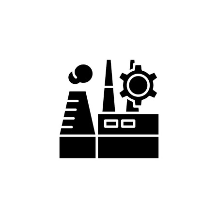 Industrial plant black icon concept. Industrial plant flat  vector symbol, sign, illustration.
