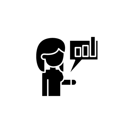 Informing about achievements black icon concept. Informing about achievements flat vector symbol, sign, illustration.