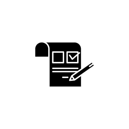 Inquiring black icon concept. Inquiring flat  vector symbol, sign, illustration.