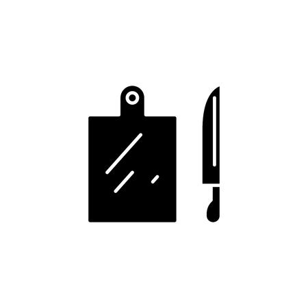 Utensili da cucina icona nera concetto. Utensili da cucina piatto simbolo del vettore, segno, illustrazione.