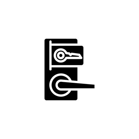Lock door black icon concept. Lock door flat vector symbol, sign, illustration.