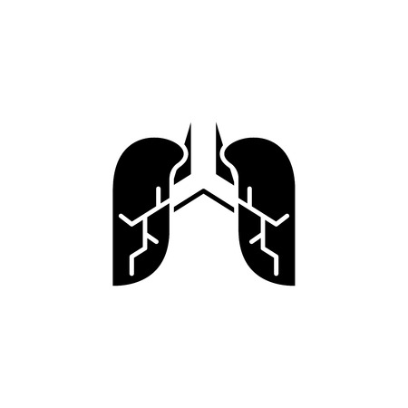 Lungs black icon concept. Lungs flat  vector symbol, sign, illustration.