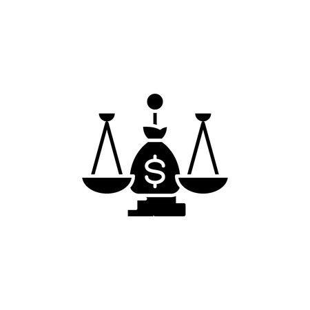 Judicial system black icon concept. Judicial system flat vector symbol, sign, illustration.