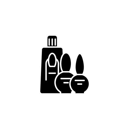 Manicure cosmetics set black icon concept. Manicure cosmetics set flat  vector symbol, sign, illustration. Ilustração