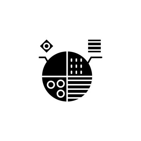 Marketing segmentation black icon concept. Marketing segmentation flat  vector symbol, sign, illustration. 向量圖像