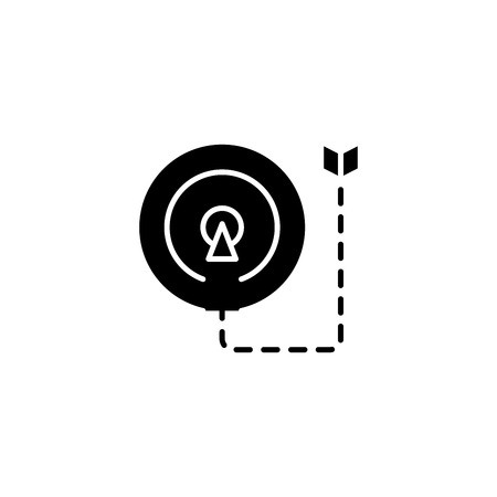 Means to an end black icon concept. Means to an end flat  vector symbol, sign, illustration.