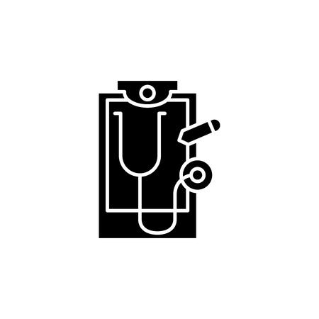 Medical report black icon concept. Medical report flat  vector symbol, sign, illustration.