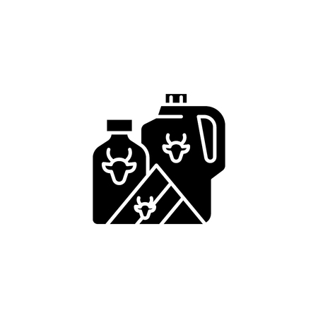 Milk black icon concept. Milk flat  vector symbol, sign, illustration. 일러스트