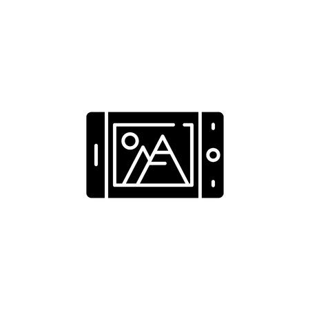 Mobile camera black icon concept. Mobile camera flat  vector symbol, sign, illustration.