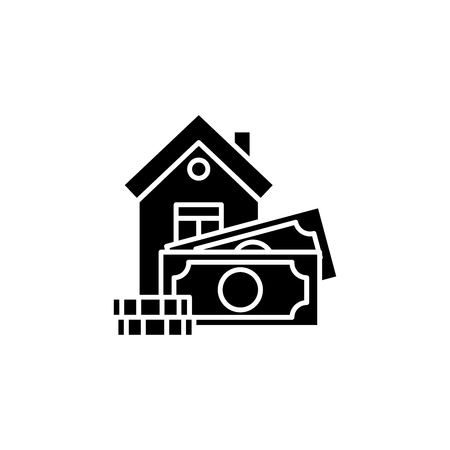 Mortgage black icon concept. Mortgage flat  vector symbol, sign, illustration. Ilustração