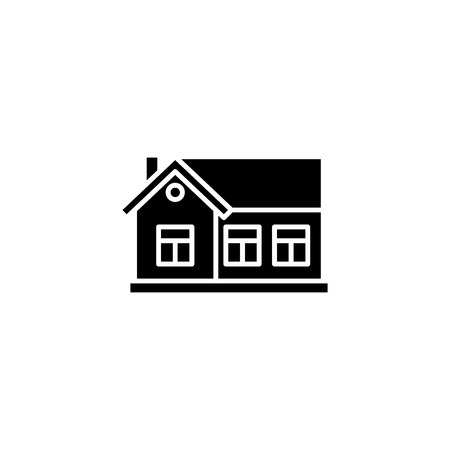 One-storey house black icon concept. One-storey house flat  vector symbol, sign, illustration. 일러스트