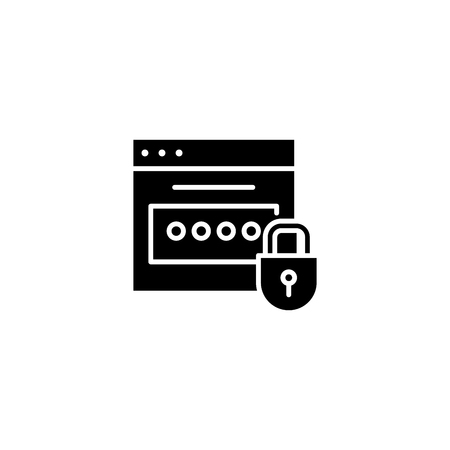 Password black icon concept. Password flat  vector symbol, sign, illustration.