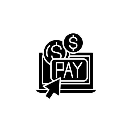 Pay per click black icon concept. Pay per click flat  vector symbol, sign, illustration.