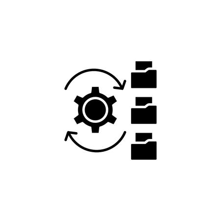Paperflow black icon concept. Paperflow flat vector symbol, sign, illustration.