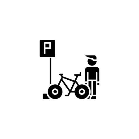 Parking for bicycles black icon concept. Parking for bicycles flat  vector symbol, sign, illustration. 일러스트