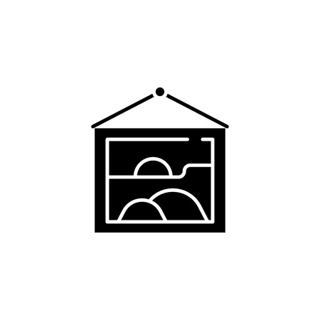Picture black icon concept. Picture flat  vector symbol, sign, illustration. Stock Illustratie
