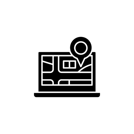Place of delivery black icon concept. Place of delivery flat  vector symbol, sign, illustration.