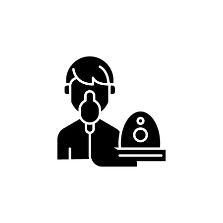 Oxygen mask black icon concept. Oxygen mask flat  vector symbol, sign, illustration.