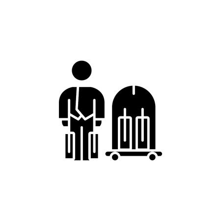 Concept d'icône noire de service de portier. Symbole de vecteur plat de service de portier, signe, illustration. Vecteurs
