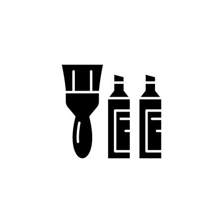 Paintbrush paint black icon concept. Paintbrush paint flat vector symbol, sign, illustration. Illustration