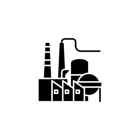 Petroleum refinery black icon concept. Petroleum refinery flat  vector symbol, sign, illustration.