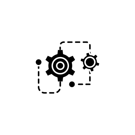 Project restructuring black icon concept. Project restructuring flat  vector symbol, sign, illustration. Çizim